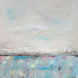 Recent Paintings - Linda Donohue Fine Art Seascape with Magenta 12 x 12 original acrylic painting on canvas. SOLD