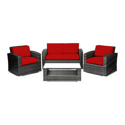 Reef Rattan - Reef Rattan Miami 4 Pc Conversation Set with Deep Seating Love Seat - Grey Ratta - Reef Rattan Miami 4 Pc Conversation Set with Deep Seating Love Seat - Grey Rattan / Red Cushions. This patio set is made from all-weather resin wicker and produced to fulfill your needs for high quality. The resin wicker in this patio set won't fade, shrink, lose its strength, or snap. UV resistant and water resistant, this patio set is durable and easy to maintain. A rust-free powder-coated aluminum frame provides strength to withstand years of use. Sunbrella fabrics on patio furniture lends you the sophistication of a five star hotel, right in your outdoor living space, featuring industry leading Sunbrella fabrics. Designed to reflect that ultra-chic look, and with superior resistance to the elements in a variety of climates, the series stands for comfort, class, and constancy. Recreating the poolside high end feel of an upmarket hotel for outdoor living in a residence or commercial space is easy with this patio furniture. After all, you want a set of patio furniture that's going to look great, and do so for the long-term. The canvas-like fabrics which are designed by Sunbrella utilize the latest synthetic fiber technology are engineered to resist stains and UV fading. This is patio furniture that is made to endure, along with the classic look they represent. When you're creating a comfortable and stylish outdoor room, you're looking for the best quality at a price that makes sense. Resin wicker looks like natural wicker but is made of synthetic polyethylene fiber. Resin wicker is durable & easy to maintain and resistant against the elements. UV Resistant Wicker. Welded aluminum frame is nearly in-destructible and rust free. Stain resistant sunbrella cushions are double-stitched for strength and are fully machine washable. Removable covers made with commercial grade zippers. Tables include tempered glass top. 5 year warranty on this product. PLEASE NOTE: Throw pillows 