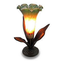 Green / Amber Lily Flower Glass Accent Lamp Night Light - This metallic bronze finished accent lamp features a bright green and deep amber glass lily flower shaped shade. It will look great on desks, night stands, tabletops or end tables in your living room, dining room, entryway or bedroom. Measuring 10.5 inches high, 8 inches long and 7 inches wide (27 X 20 X 18 cm), it's a lovely accent for the office, too! It easily turns on or off via the rocker switch on the 67 inch long black cord. It makes a wonderful night light, and uses one Type T 15 Watt maximum bulb (included). This lily inspired accent lamp makes a beautiful housewarming gift sure to be enjoyed!