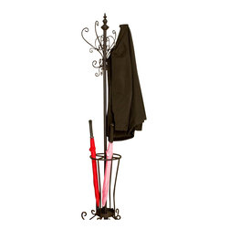 Southern Enterprises - Southern Enterprises Metal Scroll Hall Tree in Painted Black Finish - Southern Enterprises - Coat Racks - HP0375R - Rustic and graceful this scrolled metal coat rack is as beautiful as it is useful. The decorative scrolls around the top double as coat and hat holders while the lower rack is divided into four sections to organize umbrellas and other items. Every home needs a coat rack and this selection is sure to suit your needs.