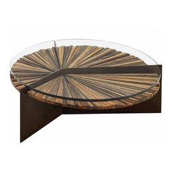 Rotsen Furniture - Mandala Coffee Table - This cool coffee table doubles as a work of art. It's made of wood that's been salvaged from larger pieces like dining tables and consoles. Each is then carefully arranged into a gorgeous mosaic, so you have a table that is like no other.