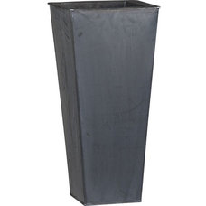 """Zinc 27.5"""" Tall Square Planter in Garden, Patio 