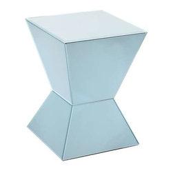 Howard Elliott Arctic Blue Mirrored Pedestal - This cool and contemporary pedestal is made of an arctic blue colored mirror and features a geometric shape.