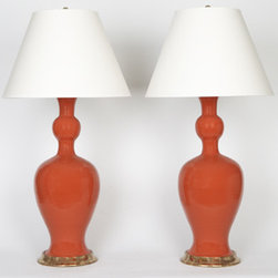 Christopher Spitzmiller Marjorie Lamps - Bold in a beautiful red-orange, lighting extraordinaire Christopher Spitzmiller's classic Marjorie lamps bring any room a pop of color in the coral colorway with gold water gilt base.