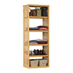 Standalone Deluxe Storage Tower, Honey Maple - Add this standalone storage tower to a corner of your bedroom or bathroom, or even hang it in your closet for maximum storage potential. Its beautiful wooden honey finish will definitely make you smile when you see it every day.
