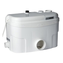Saniflo - Saniflo 014 Grinder Pump Only  For Bottom Outlet Toilets White - Sanigrind Pro Grinder pump OnlyThe Sanigrind allows you to install a bathroom up to 18 feet below the sewer line or 150 feet away from the soil stack. Unlike any other pump in the Saniflo line the sanigrind was designed to work in conjunction with a typical bottom outlet toilet. It also differs from most other Saniflo products in that it incorporates an actual grinder system as opposed to the macerator the other products use. The Sanigrind can be connected to and discharge gray waste water from a toilet, shower, sink, bathtub and washing machine. It was specifically created to deal with situations where you have no control over what goes down the toilet such as in a rental unit or office.Benefits and features:    -Grinder unit only (works with any regular bottom outlet toilet)    -Based on the best selling Sanibest system    -The Sanigrind unit discharges the effluent through a 3/4-inch diameter pipe into a sanitary gravity drain.    -The typical operating cycle for Sanigrind is approximately 10-20 seconds, resulting in the minimum power consumption.    -Waste water from other fixtures is released into Sanigrind via two 1�-inch inlets, on either side of the housing. Either one or both inlets can be used as required.    -The discharge elbow on top of the Sanigrind can be turned either to the left or to the right, depending on the discharge installation.    -Made for human waste and toilet tissue. It can however grind up other substances that may have unintentionally been flushed down the toilet (I.e. strands of wool, sanitary napkins, condoms, but not dental floss, cat litter or disposable diapers)Other fixtures:In addition to the toilet waste, Sanigrind will also discharge gray waste water from a variety of other sanitary fixtures:    -Sink (Note: not kitchen)    -Bath    -Bidet    -Urinal    -Clothes washer (Note: washing machine must drain to a laundry sink or tub first).The Sanigrind is in