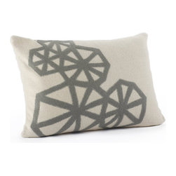 "Coyuchi Pinwheel Applique Pillow - Bold graphics pair with quiet color on the Pinwheel Applique Pillow, crafted from natural wool. The bold impact of strong geometric shapes is softened by soothing neutral tones, creating a sense of energy and balance. Cozy, soft wool makes this the perfect accent pillow for bed, couch, or chair. Natural coconut shell buttons keep the cover in place on the removable kapok insert.   Dimensions: 14""H x 20""W   Care: Covers may be hand or machine washed in cold and line dried. Kapok inserts may be fluffed in a warm dryer for 15 minutes, and machine washed in cold, then tumble dried on warm."
