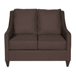 "Howard Elliott Sterling Chocolate Side Car Loveseat - Our Side Car Loveseat features classic styling in bold fabrics. It is hand crafted with extra plush cushions with removable covers for easy care. Seat height is 22"" - seat depth is 23"" - COM options available Brown Polyester Fabric"