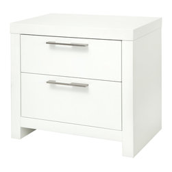 Vercelli Nightstand - The clean lined Vercelli Nightstand comes with two white lacquer drawers that are framed by Walnut or Tobacco wood veneer or White lacquer. The style and simplicity allows the Vercelli to blend into most contemporary bedrooms.