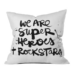 Kal Barteski Superheroes Outdoor Throw Pillow - Do you hear that noise? it's your outdoor area begging for a facelift and what better way to turn up the chic than with our outdoor throw pillow collection? Made from water and mildew proof woven polyester, our indoor/outdoor throw pillow is the perfect way to add some vibrance and character to your boring outdoor furniture while giving the rain a run for its money.