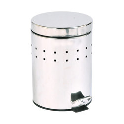 Metal Step Trash Can 0.8-Gal- Stainless Steel Cover, Chrome, 5-Litter - This step trash can is in stainless steel with a chic stainless steel lid. This round shaped trash can brings a modern style to your home with its perforated metal holes decoration and fits easily in rooms with limited Space. It offers a removable inner bucket for an easy bag change and has a non-skid rubber pad base. A simple Step action makes it easy to operate. This trash can is a lovely accent for any bathroom or under a desk with its capacity of 5-Liter/1.3-Gal. Diameter of 8.07-Inch and height of 11.22-Inch. Wipe clean. Color chrome. Complete your decoration with other products of the same collection. Imported.
