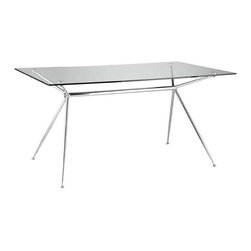 Eurostyle - Eurostyle Atos 66 Inch Rectangular Glass Dining Table w/ Chrome Base - 66 Inch Rectangular Glass Dining Table w/ Chrome Base belongs to Atos Collection by Eurostyle A completely modern take on ��_��_��_sawhorse' basics, Atos combines a delicate appearance with a solid base made of chromed steel. The tempered glass top is available in widths of 5' or 5.5 feet depending on how much work you have to do! Table Base (1), Table Top (1)