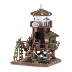 """Anzy - Wood Bird House - Island Paradise - Cute and clever lifeguard station is a bit of island paradise for welcome garden guests! Wood.  Measures:  7 1/2"""" x 8 3/4"""" x 11 1/4"""" high."""