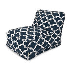 Majestic Home Goods - Navy Trellis Bean Bag Chair Lounger - Add style and functionality to your living room, family room or game room with the Majestic Home Goods Trellis bean bag chair lounger. This Beanbag Chair has the design of modern furniture, while still giving the comfort of a classic bean bag. Woven from cotton duck or twill, these loungers are durable yet comfortable. The beanbag inserts are eco-friendly by using up to 50% recycled polystyrene beads, and the removable zippered slipcovers are conveniently machine-washable. Wash in cold water with a mild detergent such as Wool-Lite and hang dry. Wash in cold water with a mild detergent such as Wool-Lite and hang dry.