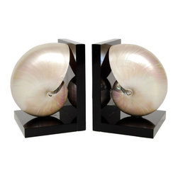 Stunning Nautilus Shell Bookends - These gorgeous seashells would add some sea-worthy beauty to your beach house or office.