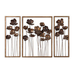 Uttermost - Metal Tulips Wall Art Set of 3 - This Set Of Decorative Wall Art Is Made Of Hand Forged Metal Finished In Antiqued Gold Leaf With A Charcoal Gray Wash. Sizes: Sm-10x27x4, Lg-20x27x4