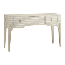 None - Foxy Champagne/ Mirrored Vanity Table - Add pizzazz to any room with this versatile Foxy Vanity table. This glamorous table features a metallic goldtone finish,recessed mirror strips,polished oval hardware,two drawers,a lift-top mirrored center compartment and drop-down drawer front.