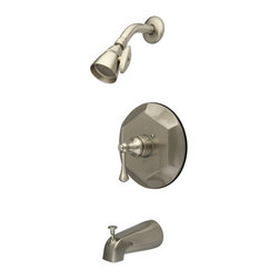 Kingston Brass - Single Handle Tub & Shower Faucet - This tub and shower faucet is constructed of high quality brass to ensure reliability and durability. Its premier finish resists tarnishing and corrosion. All mounting hardware is included and standard US plumbing connections are used. Update your bathroom with this sturdy and stylish faucet.