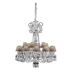 "ITALAMP - ITALAMP 248 Chanel Chandelier - The 248 Chanel Chandelier has been designed and made by Italamp. 248 Chandelier is a contemporary lamp made of crystal, glass, Swarovski Elements, metal and fabric. This modern lamp is an impresive presence in any kind of room, small or large, home or commercial environments. The lamp consists of a metal structure which sustains its body in transparent glass or black fabric with chrome finishes with Swarovski elements. The 248 Chandelier is available in one versions with 18 candles arranged on one level. The 248 Chanel has a diffused light, is dimmable and when is turned on the lamp diffuses a parade of light with bright personality. Illumination is provided by E12, 40W Halogen, 8W Energy Saving, or 4W LED bulb (not included).      Product Details: The 248 Chanel Chandelier has been  designed  and made by Italamp. 248 Chandelier is a contemporary   lamp made of  crystal, glass, Swarovski Elements,  metal and fabric. This modern  lamp is an impresive presence in any kind of room, small or large, home or commercial environments. The  lamp consists of a metal structure which sustains its   body in transparent glass  or black fabric with chrome finishes with Swarovski elements.  The 248 Chandelier is available  in one versions with  18 candles arranged on one   level. The 248 Chanel has a diffused light, is dimmable and when is turned on the lamp diffuses a parade of light with bright personality. Illumination is provided by E12, 40W Halogen,  8W Energy Saving, or 4W LED bulb (not included). Details:                         Manufacturer:            Italamp                            Designer:            Italamp                            Made in:            Italy                            Dimensions:                        Diameter: 39.4""(100.1cm) X Height: 45.3""(115.1cm)                                         Light bulb:                        E12, 18x40W Halogen / 18x8W Energy Saving / 18x4W LED bulb (not included)                                         Material:            Crystal, Glass, Swarovski Elements, Metal, Fabric"