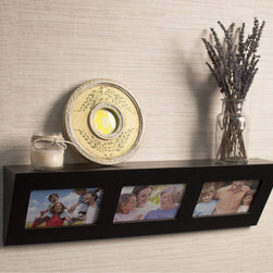 Danya B - Laminate Espresso Picture Frame Wall Shelf - This picture frame shelf comes with a laminate espresso finish and three picture windows. Display your family's most precious memories while saving space and organizing odds and ends with the two-in-one function of this charming shelf.