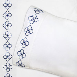 Jonathan Adler Navy Hollywood Sheet Set - I love the crisp and unique embroidery on the edges of this lovely sheet set. It's a serene surprise when one turns down the covers.