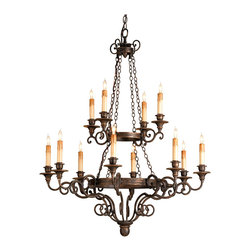 """Kathy Kuo Home - Galleon Bronze Two-Tier Wooden Candle 12 Light Chandelier - A good mid-sized chandelier with a pleasing height, Galleon's two tiers of wrought iron detailing are joined by chain. Wooden candle cups add to the interest. Our classic """"hand rubbed bronze"""" finish compliments the skilled blacksmith's work."""