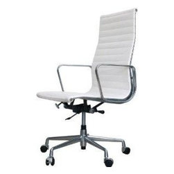 IFN Modern - Eames Style Aluminum Group Management High Back Chair - Italian Leather, White - A true classic, the Eames Aluminum Group Management High Back Chair is part of the Aluminum Group of chairs a set of award-winning furniture designed in 1958 by world-famous design team, Charles and Ray Eames. The Aluminum Group of chairs are viewed by many as some of the most significant designs of the 20th century, and all are immediately recognizable as style classics of 1960s corporate America. The chair isn't just a minimalist work of art, it is designed to perfectly fit the movement of the body for optimum comfort. Bring a true design classic into your home with the Eames Aluminum Group Management High Back Chair an investment piece that combines technology and strength to form one beautiful object. This item is not an original Charles & Ray Eames product, nor is it manufactured by or affiliated with Herman Miller.