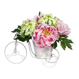Peony and Hydrangea Tricycle Silk Flower Arrangement - Ring Ring... here comes a bicycle on a summer day! That will be the whimsical feeling this incredible piece will bring forth. The Peony and Hydrangea create the perfect combination of warm-weather color, and placing them together in the cutest little tricycle planter brings a tranquil feeling of days gone by. We loved creating this arrangement almost as much as you'll love displaying it. Suffice to say, it also makes a perfect gift. Height= 9.5 in x Width= 9 in x Depth= 12 in