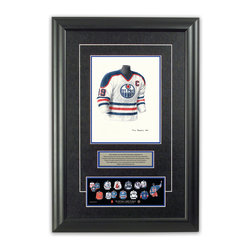 "Heritage Sports Art - Original art of the NHL 1983-84 Wayne Gretzky jersey - This beautifully framed piece features an original piece of watercolor artwork glass-framed in an attractive two inch wide black resin frame with a double mat. The outer dimensions of the framed piece are approximately 17"" wide x 24.5"" high, although the exact size will vary according to the size of the original piece of art. At the core of the framed piece is the actual piece of original artwork as painted by the artist on textured 100% rag, water-marked watercolor paper. In many cases the original artwork has handwritten notes in pencil from the artist. Simply put, this is beautiful, one-of-a-kind artwork. The outer mat is a rich textured black acid-free mat with a decorative inset white v-groove, while the inner mat is a complimentary colored acid-free mat reflecting one of the team's primary colors. The image of this framed piece shows the mat color that we use (Medium Blue). Beneath the artwork is a silver plate with black text describing the original artwork. The text for this piece will read: This original, one-of-a-kind watercolor painting of Wayne Gretzky's 1983-84 Edmonton Oilers jersey is the original artwork that was used in the creation of this Wayne Gretzky jersey evolution print and tens of thousands of Wayne Gretzky products that have been sold across North America. This original piece of art was painted by artist Tino Paolini for Maple Leaf Productions Ltd. Beneath the silver plate is a 3"" x 9"" reproduction of a well known, best-selling print that celebrates Wayne Gretzky's hockey history. The print beautifully illustrates a chronological evolution of some of Wayne Gretzky's jerseys and shows you how the original art was used in the creation of this print. If you look closely, you will see that the print features the actual artwork being offered for sale. The piece is framed with an extremely high quality framing glass. We have used this glass style for many years with excellent results. We package every piece very carefully in a double layer of bubble wrap and a rigid double-wall cardboard package to avoid breakage at any point during the shipping process, but if damage does occur, we will gladly repair, replace or refund. Please note that all of our products come with a 90 day 100% satisfaction guarantee. Each framed piece also comes with a two page letter signed by Scott Sillcox describing the history behind the art. If there was an extra-special story about your piece of art, that story will be included in the letter. When you receive your framed piece, you should find the letter lightly attached to the front of the framed piece. If you have any questions, at any time, about the actual artwork or about any of the artist's handwritten notes on the artwork, I would love to tell you about them. After placing your order, please click the ""Contact Seller"" button to message me and I will tell you everything I can about your original piece of art. The artists and I spent well over ten years of our lives creating these pieces of original artwork, and in many cases there are stories I can tell you about your actual piece of artwork that might add an extra element of interest in your one-of-a-kind purchase."