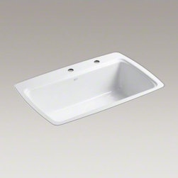 """KOHLER - KOHLER Cape Dory(R) 33"""" x 22"""" x 9-5/8"""" tile-in single-bowl kitchen sink with 2 f - The Cape Dory sink is a kitchen classic, with its generous single bowl that simplifies the task of washing large pots and pans. Crafted from enameled cast iron, this sink resists chipping, cracking, or burning for years of beauty and reliable performance."""