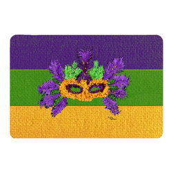 Caroline's Treasures - Mardi Gras Kitchen Or Bath Mat 24X36 - Kitchen or Bath COMFORT FLOOR MAT This mat is 24 inch by 36 inch. Comfort Mat / Carpet / Rug that is Made and Printed in the USA. A foam cushion is attached to the bottom of the mat for comfort when standing. The mat has been permenantly dyed for moderate traffic. Durable and fade resistant. The back of the mat is rubber backed to keep the mat from slipping on a smooth floor. Use pressure and water from garden hose or power washer to clean the mat. Vacuuming only with the hard wood floor setting, as to not pull up the knap of the felt. Avoid soap or cleaner that produces suds when cleaning. It will be difficult to get the suds out of the mat
