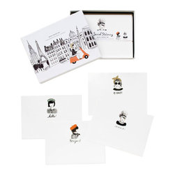 "International Addresses Stationary - Set of 12 - This charming stationary set displays greetings in different languages on assorted cards. Address your friends with ""Ciao!"" or ""Hello!"" or ""Bonjour!"" on these unique printed cards. Each set comes with twelve assorted flat notes and envelopes."