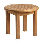 """Douglas Nance - Douglas Nance Classic 21"""" Side Table - The Douglas Nance philosophy about teak furniture is different than most. While all around we see designs and styles that minimize the use of teak wood by substituting with aluminum or adding sling fabric material, we have gone the other direction. Slim and sleek won't be found in descriptions of our furniture. Instead you'll read masterful, bold and rock solid. Everything in the design of our styles has been about making a statement with teak. We've added thickness to our parts to give unheard of stability and strength. We've also added extra dimension to provide more room and comfort than any teak designs we have ever seen."""