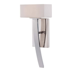 Savoy House - Nordic Sconce - An impressive sight, this wall sconce would probably adorn Thor's palace. Why not yours? Its super-sleek hammer design features a rectangular shade, resting atop a slightly curved silver-handle base.
