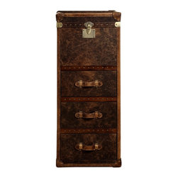 Vintage Steamer Tall Chest - Our reproduction of old time luggage trunks. Vintage leather with aged patina, canvas-lined 3 drawers, leather-bound corner brackets, leather-wrapped handles, wood slats with aged