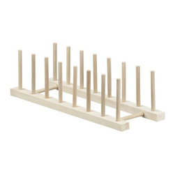 """Wooden 15"""" Plate Rack - The same natural wood plate racks displayed in our stores are now available to use at home. Display a collection of favorite plates, or simply get your china cupboard organized. Two sizes available (see Small below)."""