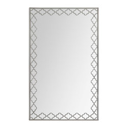 None - Dubai Mirror - The Dubai Mirror features a rectangular polished mirror in a satin nickel frame. A sophisticated stencil pattern overlay also adorns the mirror.