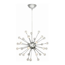Hinkley Lighting - Hinkley Lighting | Impulse Small Chandelier - Design by Fredrick Ramond.The Impulse Small Chandelier is a dynamic LED design with a striking contemporary shape. Petite stems radiate from the spherical body while miniature acrylic ornaments of light glow at its tips. Ships with 10 feet of wire. Available in polished chrome, cloud or polished gold finishes. Non-Dimmable.