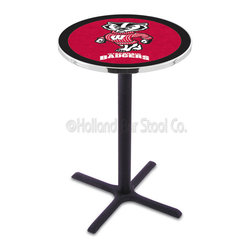 "Holland Bar Stool - Holland Bar Stool L211 - Black Wrinkle Wisconsin  Inch Pub Table - L211 - Black Wrinkle Wisconsin Inch Pub Table belongs to College Collection by Holland Bar Stool Made for the ultimate sports fan, impress your buddies with this knockout from Holland Bar Stool. This L211 Wisconsin ""Badger"" table with cross base provides a commercial quality piece to for your Man Cave. You can't find a higher quality logo table on the market. The plating grade steel used to build the frame ensures it will withstand the abuse of the rowdiest of friends for years to come. The structure is powder-coated black wrinkle to ensure a rich, sleek, long lasting finish. If you're finishing your bar or game room, do it right with a table from Holland Bar Stool. Pub Table (1)"