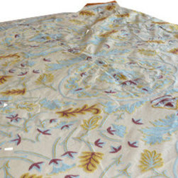 Crewel Fabric World - Crewel Bedding Medallion Tan Cotton Duck Duvet Cover Queen - Inspiration: Medallion is a pattern inspired by the curiosity of our designers to combine the vines with a medallion design.
