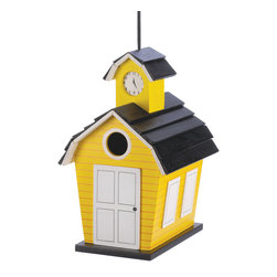 KOOLEKOO - School Daze Birdhouse - Any well-educated bird will see that this cheery schoolhouse is the perfect nesting place! Quaintly fashioned just like a 19th-century school building, complete with clock tower and sunny yellow paint.