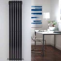 Hudson Reed - Revive High Gloss Black Vertical Designer Radiator 63 x 14 & Valves - With an impressive heat output of 1,009 Watts (3,445 BTUs), this designer radiator, in a fashionable high gloss black finish (RAL9005), is stylish and highly efficient, ensuring that your room is heated quickly.This luxury radiator is designed especially for use in any room, looking equally stylish in a modern or traditional setting; its six anthracite vertical columns bring a touch of elegance to any living space. This modern version of the traditional cast-iron radiator is also highly functional, connecting directly into your domestic central heating system via the angled radiator valves included. This radiator comes complete with a 5 YEAR GUARANTEE.Luxury High Gloss Black Vertical Designer Radiator 63 x 14 Details  Dimensions: (H x W x D) 63 x 14 x 4 Output: 1,009 Watts (3,445 BTUs) Pipe centres with valves: 17 Wall to centre of tapping: 2.5 Number of columns: 6 Oval crossbars Designed to be plumbed into your central heating system Suitable for bathroom, cloakroom, kitchen etc. Please note: Angled radiator valves are included  Buy now, to transform your living space, at an affordable price.5 year guarantee Please Note: Our radiators are designed for forced circulation closed loop systems only. They are not compatible with open loop, gravity hot water or steam systems.