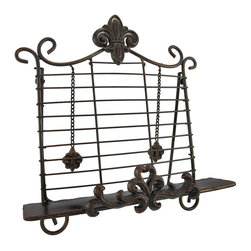Decorative Fleur-de-Lis Metal Cookbook Stand Book Holder Easel - This decorative metal book or music stand features fleur-de-lis accents, can accommodate open books up to 3 inches thick, and has weights to keep your pages in place. It measures 13 1/2 inches tall, 13 inches long, 7 inches deep and has an antique finish. It is great on kitchen counters to hold open cookbooks, but can also be used for displaying books.