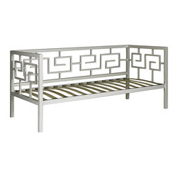 None - Greek Key Marshmallow White Twin Daybed - This versatile Greek Key Brown Daybed features a classic design that works perfectly with any decor. This daybed offers deep, comfortable seating and sleeping space and a durable frame with a beautiful finish.