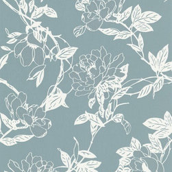 Graham and Brown - Steve Leung Jiao Wallpaper - Not your ordinary wallflower. This pretty paper in blue offers a serenely beautiful and contemporary take on a climbing floral vine. It'll add subtle sheen to your interiors with metallic flecks that give it a three-dimensional effect.