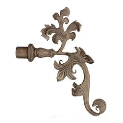The Merchant Source - 1 1/4 in. Drapery Finial - Extended Leaf - Set of 2 (Gold) - Finish: Gold. Rethink your window decor with this floral-themed drapery rod set. Sold as a set of 2, each finial features a realistic leaf design and forged metal construction for lasting value. They easily accommodate standard 1.25 inch curtain rods. Attractive finish colors await your selection. Set of 2. Made of Forged Metal. 10 in. L x 2 in. W x 14 in. H (5 lbs.)