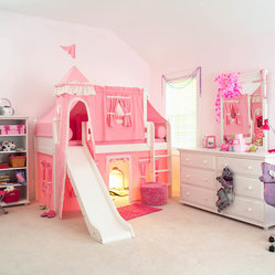 Pink Princess Castle Bed with Slide
