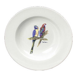 Caroline's Treasures - Parrots Round Ceramic White Soup Bowl 8600-SBW-825 - Parrots Round Ceramic White Soup Bowl 8600-SBW-825 Heavy Round Ceramic Soup Bisque Gumbo Bowl 8 3/4 inches. LEAD FREE, microwave and dishwasher safe. The bowl has been refired over 1600 degrees and the artwork will not fade or crack. The Artwork for this gift product and merchandise was created by Sylvia Corban copyright and all rights reserved.