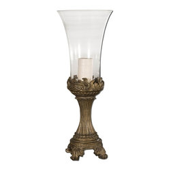Uttermost - Rococo Golden Hurricane Candleholder - Gray patina with golden highlights and clear glass globe