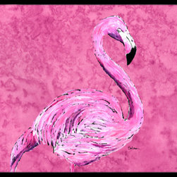 Caroline's Treasures - Flamingo on Pink Indoor or Outdoor Mat 18 x 27 Doormat - Indoor / Outdoor Floor Mat 18 inch by 27 inch Action Back Felt Floor Mat / Carpet / Rug that is Made and Printed in the USA. A Black binding tape is sewn around the mat for durability and to nicely frame the artwork. The mat has been permanently dyed for moderate traffic and can be placed inside or out (only under a covered space). Durable and fade resistant. The back of the mat is rubber backed to keep the mat from slipping on a smooth floor. Wash with soapwater.